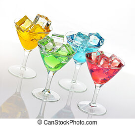 cold drinks - glasses of colorful drinks with ice cubes