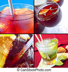 Cold Drinks - Set of four closeup photos of refreshing...