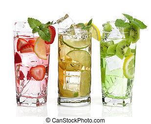 cold Drinks With Fruits - Glasses Of Drink With Ice Cubes ...