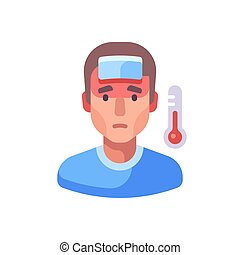 cold., fièvre, homme, malade, plat, illustration.