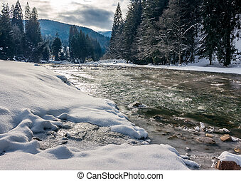 cold flow of forest river in snowy spruce forest. ice and...