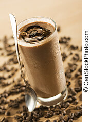 cold fresh ice coffee with chocolate close up