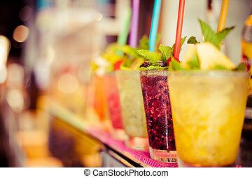 Cold fresh lemonade drink close up, selective focus
