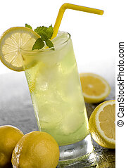 cold fresh lemonade drink with mint close up
