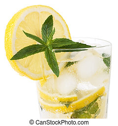 cold fresh lemonade drink with mint