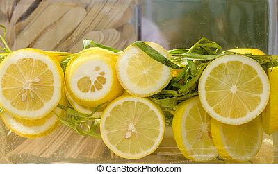 fresh lemonade with slices of lemon