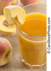fresh peach juice in a glass