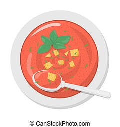 Cold gazpacho soup in a plate. Fast and easy dinner