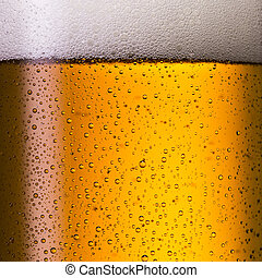 Cold geramn beer with condensation drops - A close-up from a...