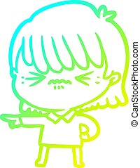 cold gradient line drawing of a annoyed cartoon girl making accusation