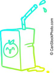 cold gradient line drawing apple juice box