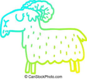 cold gradient line drawing cartoon black goat