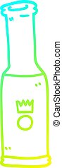 cold gradient line drawing cartoon bottle of pop - cold ...