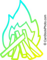 cold gradient line drawing cartoon camp fire