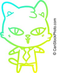 cold gradient line drawing cartoon cat
