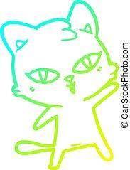 cold gradient line drawing cartoon cat