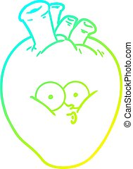 cold gradient line drawing cartoon confused heart
