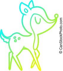 cold gradient line drawing cartoon cute deer