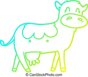 cold gradient line drawing cartoon dairy cow
