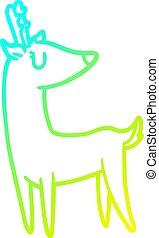 cold gradient line drawing Cartoon deer