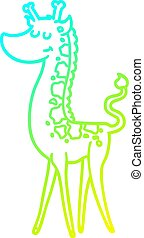 cold gradient line drawing cartoon giraffe