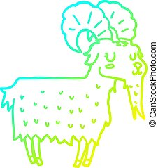 cold gradient line drawing cartoon goat