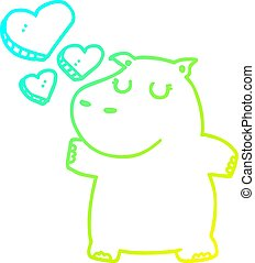 cold gradient line drawing cartoon hippo in love