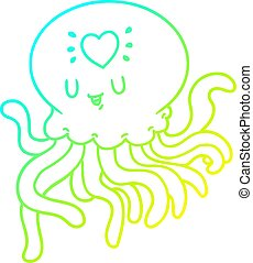 cold gradient line drawing cartoon jellyfish in love