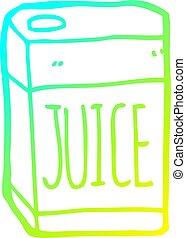cold gradient line drawing cartoon juice box - cold gradient...