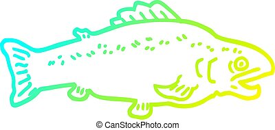 cold gradient line drawing cartoon large fish