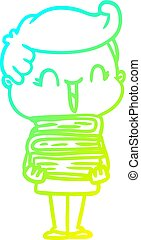 cold gradient line drawing cartoon laughing boy carrying books