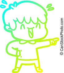 cold gradient line drawing cartoon laughing boy