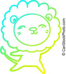cold gradient line drawing cartoon lion