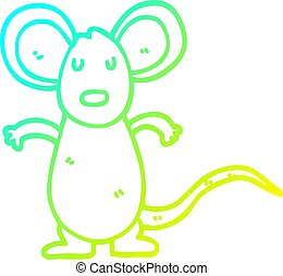 cold gradient line drawing cartoon mouse