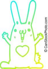cold gradient line drawing cartoon rabbit in love