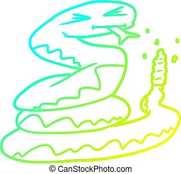 cold gradient line drawing cartoon rattlesnake - cold ...