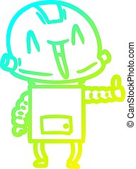 cold gradient line drawing cartoon robot