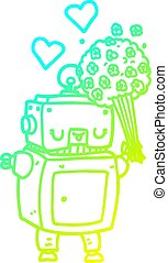 cold gradient line drawing cartoon robot in love