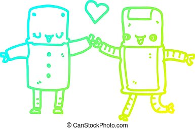 cold gradient line drawing cartoon robots in love