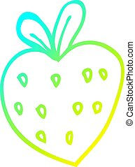 cold gradient line drawing cartoon strawberry fr - cold...