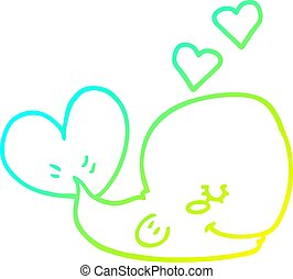 cold gradient line drawing cartoon whale in love