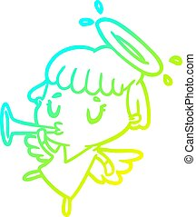 cold gradient line drawing cute angel