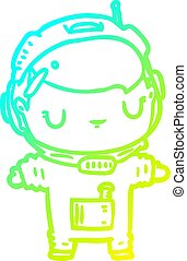 cold gradient line drawing cute astronaut