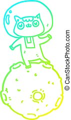 cold gradient line drawing cute cartoon astronaut cat