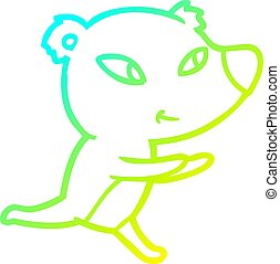 cold gradient line drawing cute cartoon bear