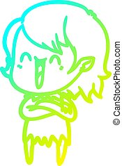 cold gradient line drawing cute cartoon happy vampire girl