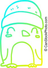cold gradient line drawing cute cartoon penguin