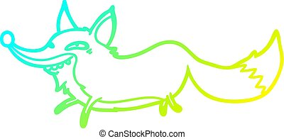 cold gradient line drawing cute cartoon sly fox