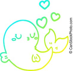 cold gradient line drawing cute cartoon whale in love