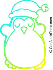 cold gradient line drawing cute christmas penguin